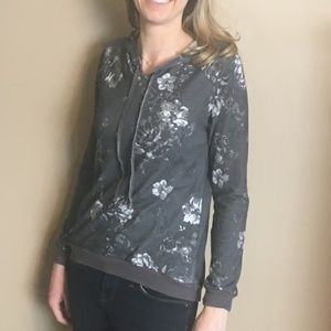 Gray Floral Lightweight Hoodie - Soft & Cozy